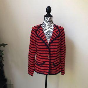 Cabi red & blue stripe blazer